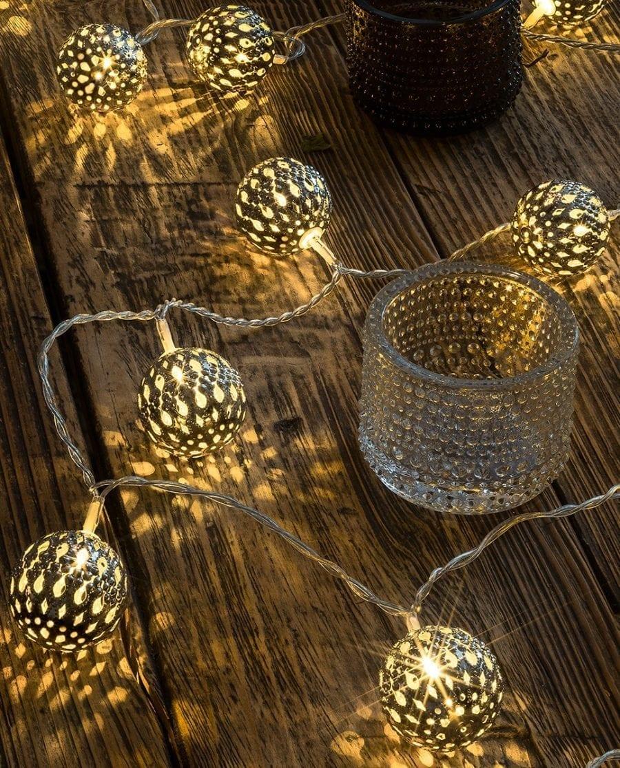 Metallballer LED Lysslynge 24 Lys Sølv-64167