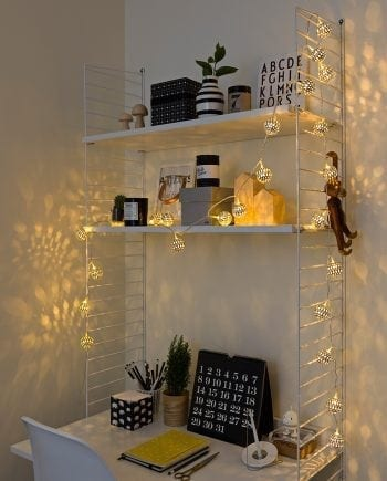 Metallballer LED Lysslynge 24 Lys Sølv-0
