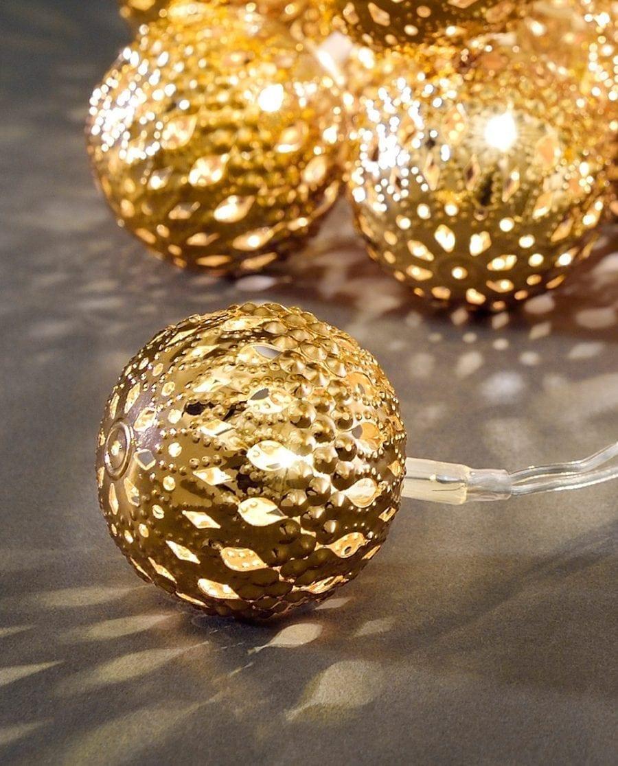Metallballer LED Lysslynge 24 Lys Gull-64183