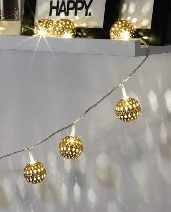 Metallballer LED Lysslynge 24 Lys Gull-0