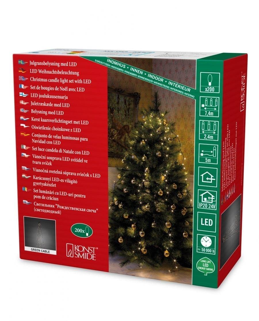 Juletrebelysning LED 5 Lengder 2,4 m 200 Lys-64230