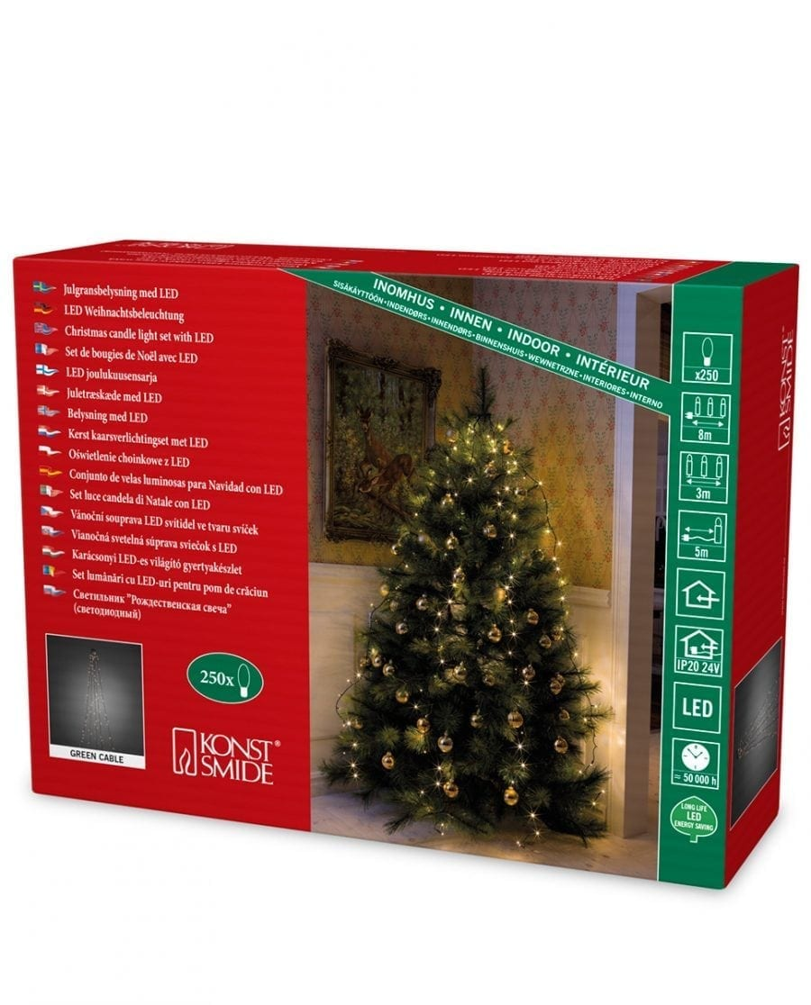 Juletrebelysning LED 5 Lengder 3 m 250 Lys-64237