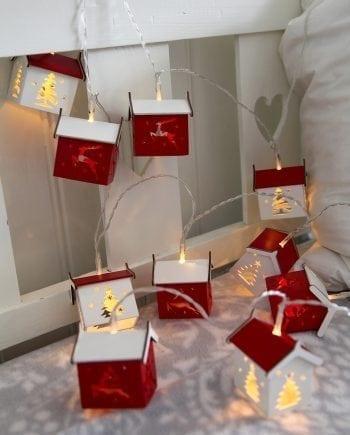 Små Hus Lysslynge Rød/Hvit 10 LED-0