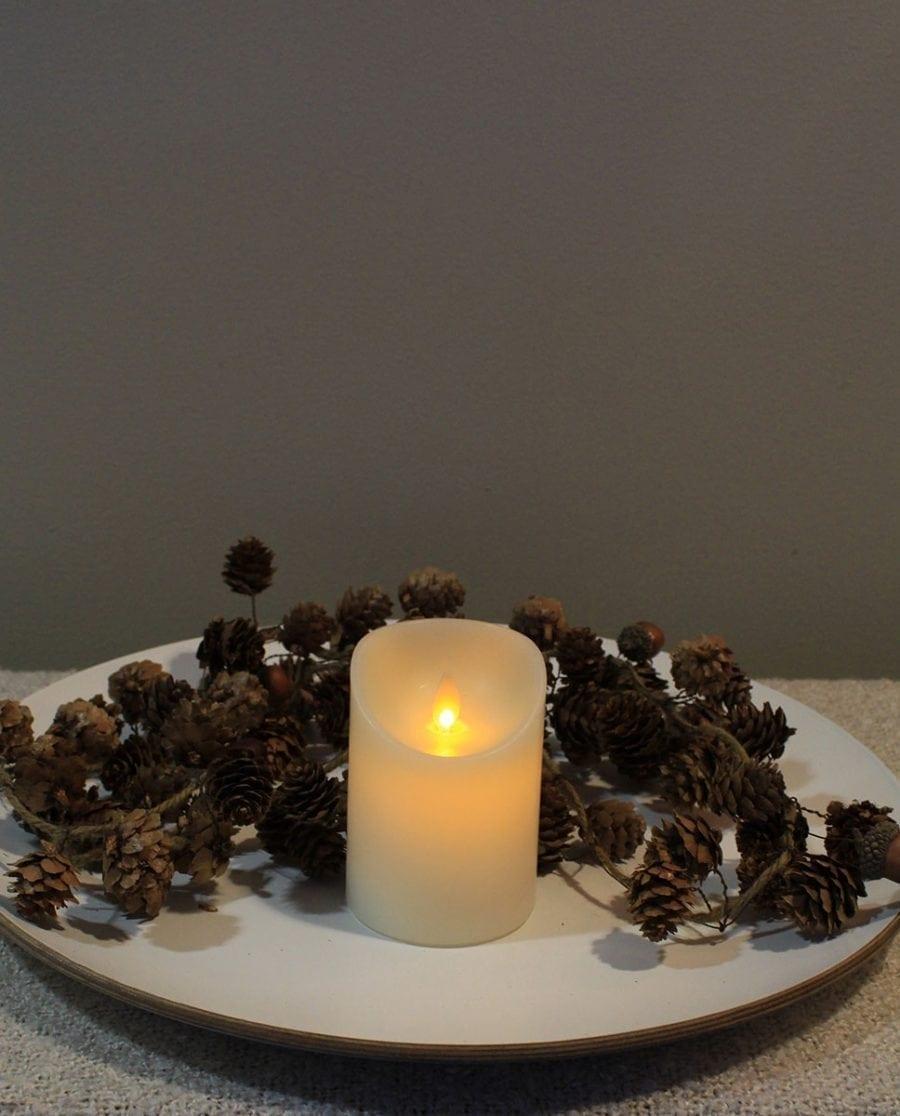 Naturlig Flamme LED Kubbelys Voks Kremhvit 3 størrelser-66707