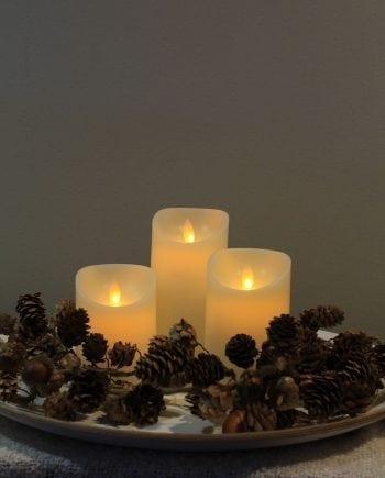 Naturlig Flamme LED Kubbelys Voks Kremhvit 3 størrelser-0