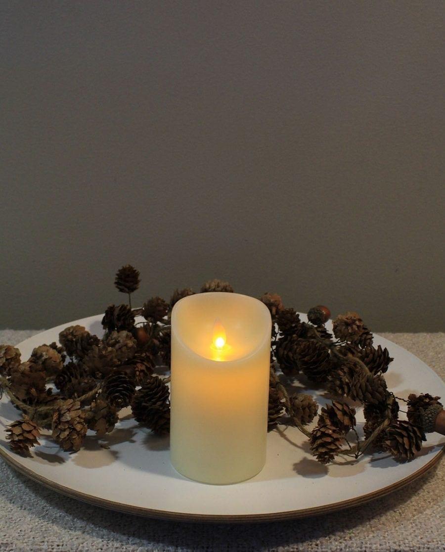 Naturlig Flamme LED Kubbelys Voks Kremhvit 3 størrelser-66708