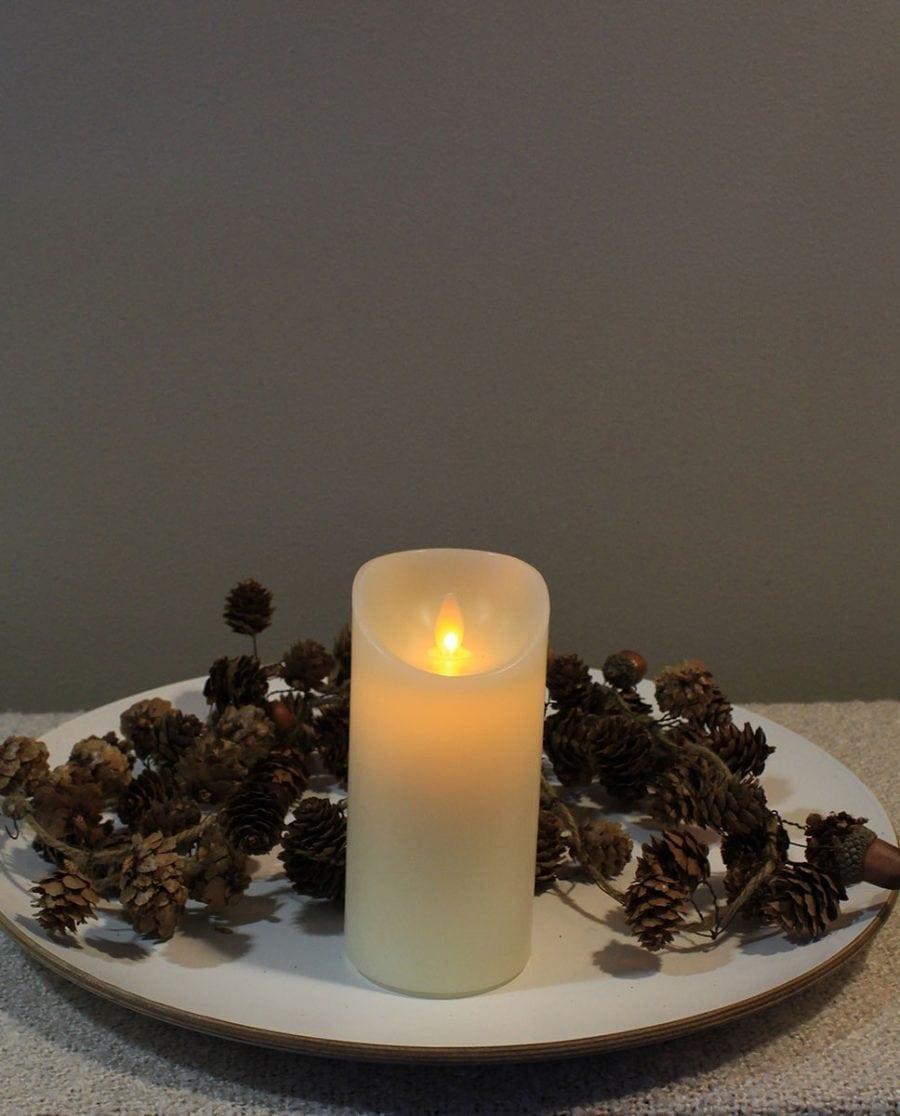 Naturlig Flamme LED Kubbelys Voks Kremhvit 3 størrelser-66706