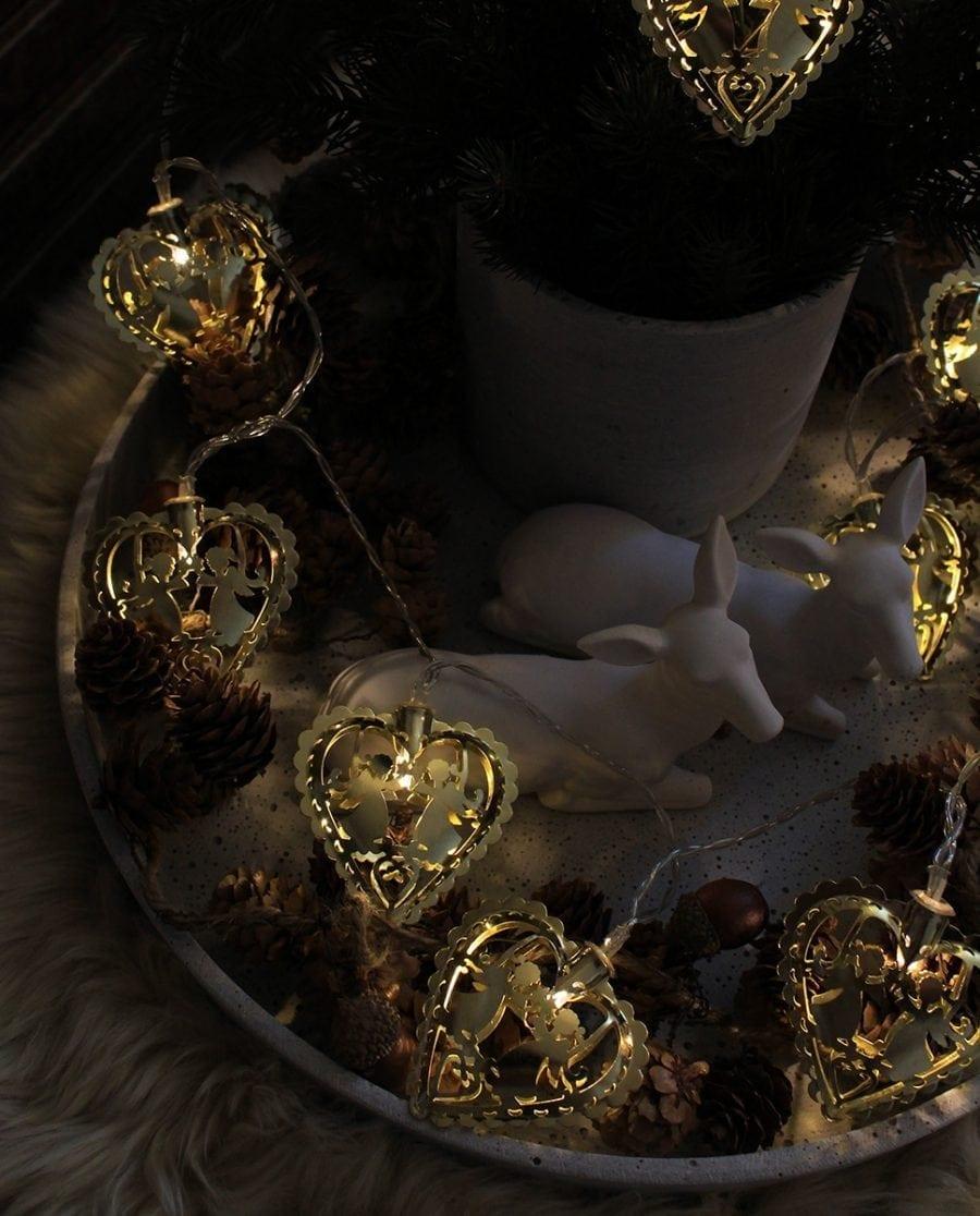 Batteridrevet Lysslynge Hjerter med Engler Gull 10 LED-66789
