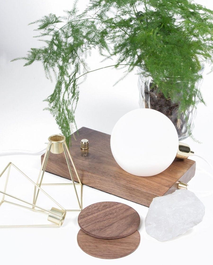 Globen Lighting Orb Valnøtt/Messing Bordlampe-0