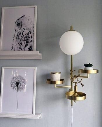 Globen Lighting Astoria Børstet Messing Vegglampe-0
