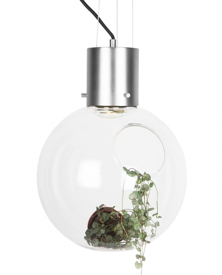 Globen Lighting Hole XL Klar/Børstet Krom Pendel-67903