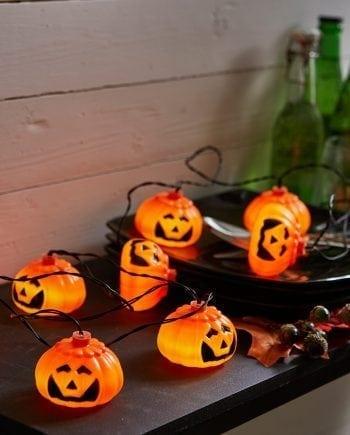 Halloween 8 LED Gresskar Batteri Lysslynge-0