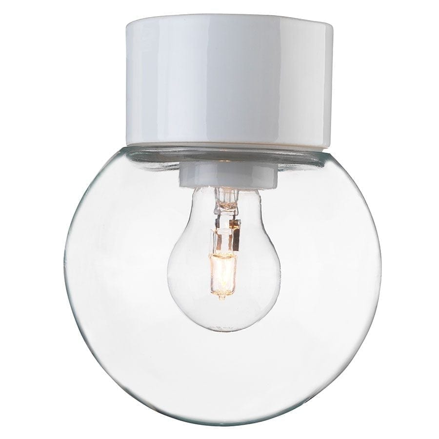 Ifö Classic Glob Vegg-/Taklampe Klart Glass Hvit/Sort 18 cm-69744