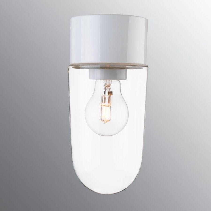 Ifö Classic Stallglass Vegg-/Taklampe Klart Glass Hvit/Sort-0