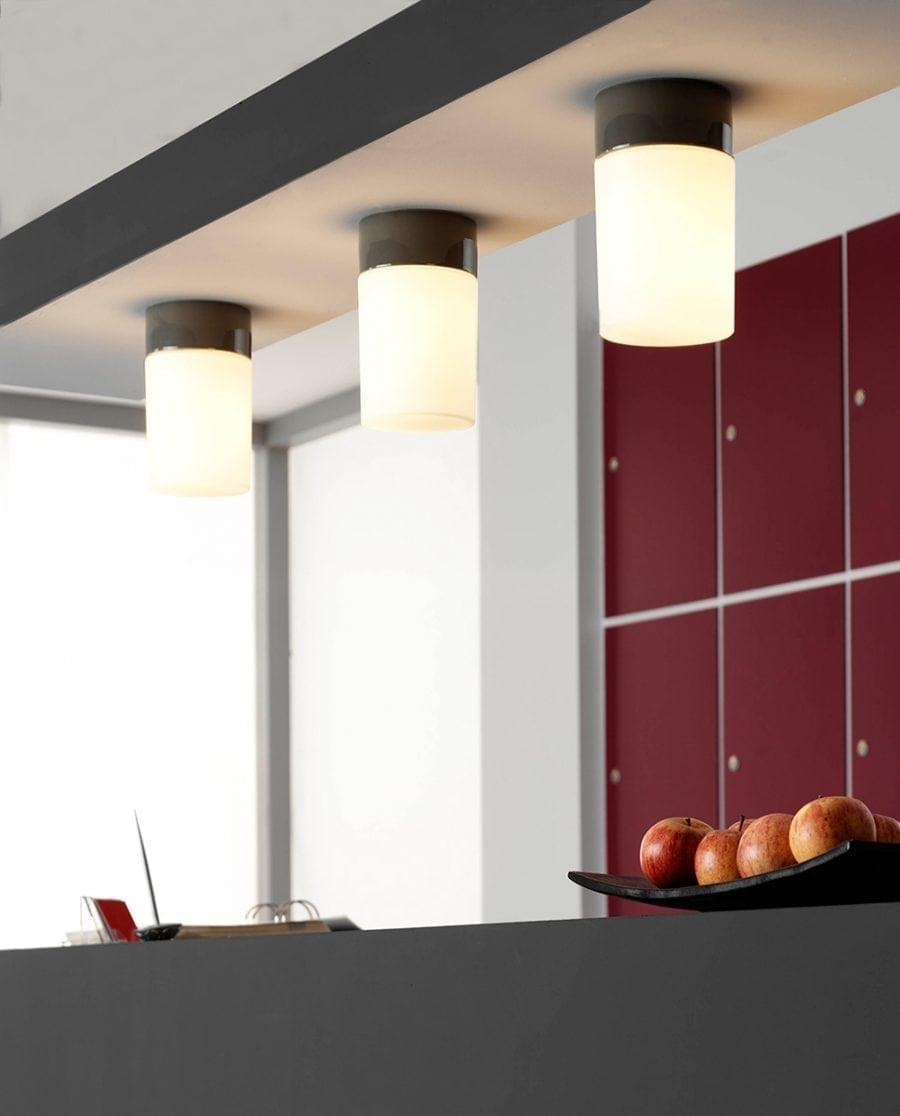 Ifö Opus 100/175 Vegg-/Taklampe Opalt Glass Hvit/Grå/Sort-70525