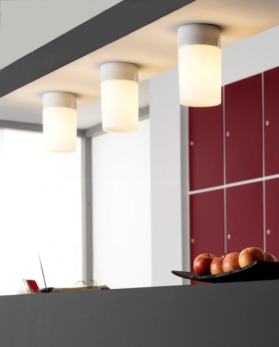 Ifö Opus 100/175 Vegg-/Taklampe Opalt Glass Hvit/Grå/Sort-0