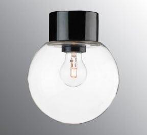 Ifö Classic Glob Vegg-/Taklampe Klart Glass Hvit/Sort 18 cm-69754